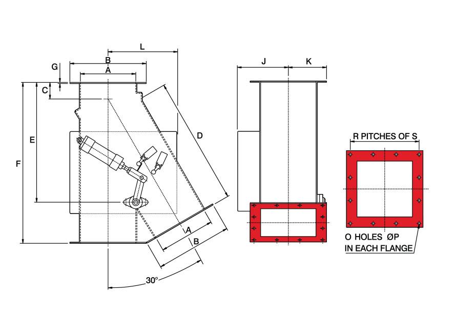0x30 Square Pneumatic Gravity Diverter Valve Diagram