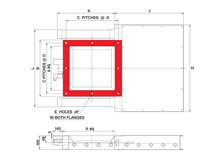 Double Pneumatic Square Fabricated Slide Gate Technical Drawing