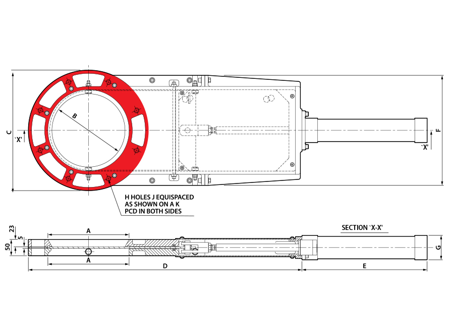 Round Pneumatic Cast Slimslide Technical Drawing
