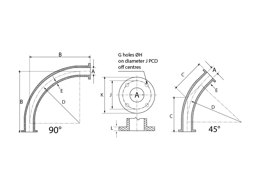 NI-HARD Plain Bend Dimensions Drawing