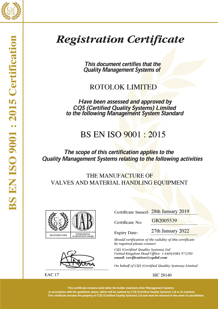Rotolok 9001:2015 Certificate